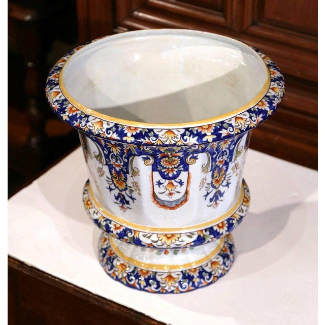 Early 20th Century Important Early 20th Century, French Hand-Painted Faience Planter From Normandy For Sale - Image 5 of 8