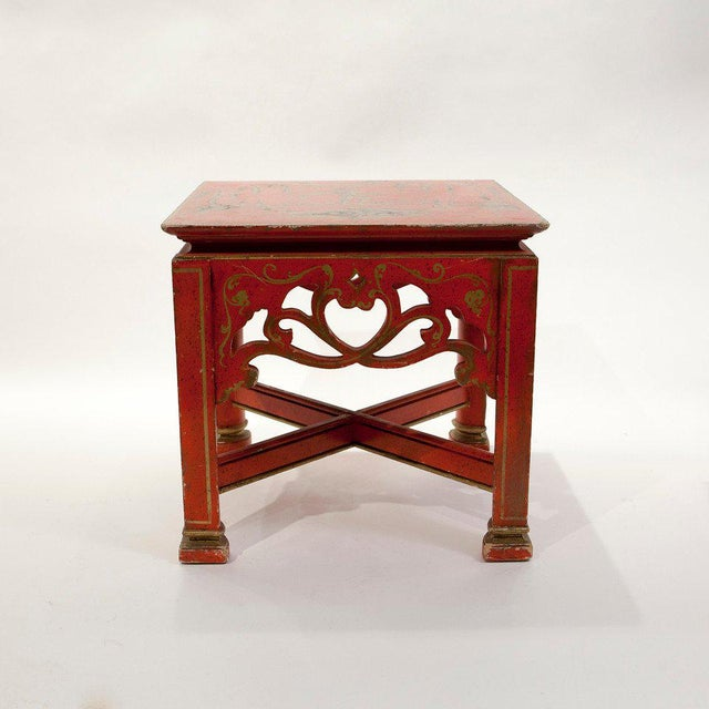 Red Chinoiserie Tables - A Pair - Image 4 of 5