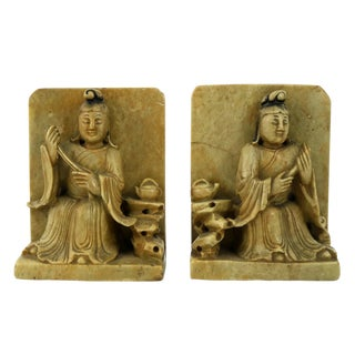 Antique Carved Soapstone Bookends With Chinese Figures and Teapot Detail For Sale
