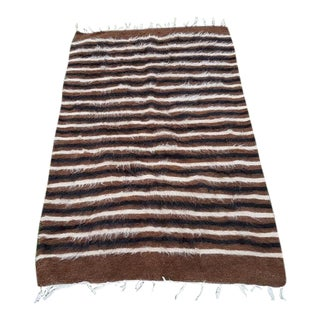 1970s Vintage Angora Wool Flat Weave Rug - 2′6″ × 3′11″ For Sale