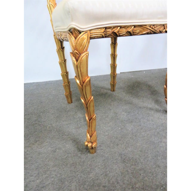 Late 20th Century French Gold Gilt Leaf Carved Side Chairs- a Pair For Sale - Image 5 of 7