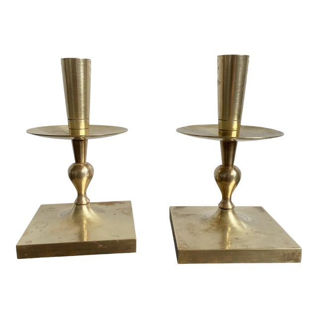 Mid 20th Century Mid Century Modern Tommi Parzinger Brass Candle Holders For Sale