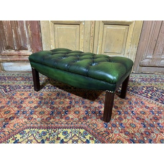 Vintage Mid-Century English Dark Green Leather Chesterfield Footstool Ottoman Preview