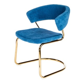 Brandie Dining Chair in Blue and Gold