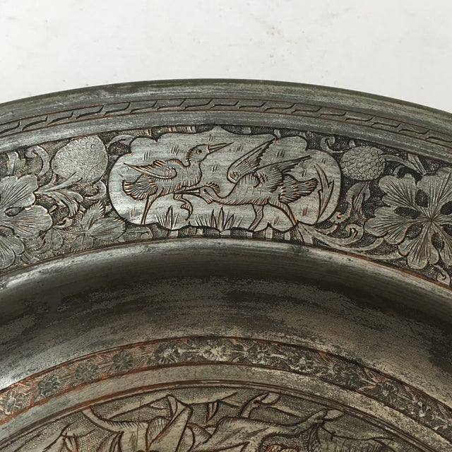Copper Antique Persian Etched Tinned Copper Plate For Sale - Image 7 of 8
