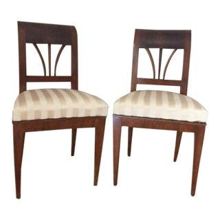 1820's Viennese Biedermeir Walnut Chairs - A Pair