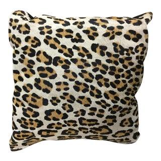 Vintage Mid-Century Pony Hair Leopard Fur Print Pillow For Sale