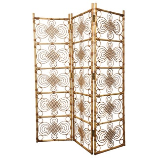 1960s Mid-Century Modern Rattan Room Divider For Sale