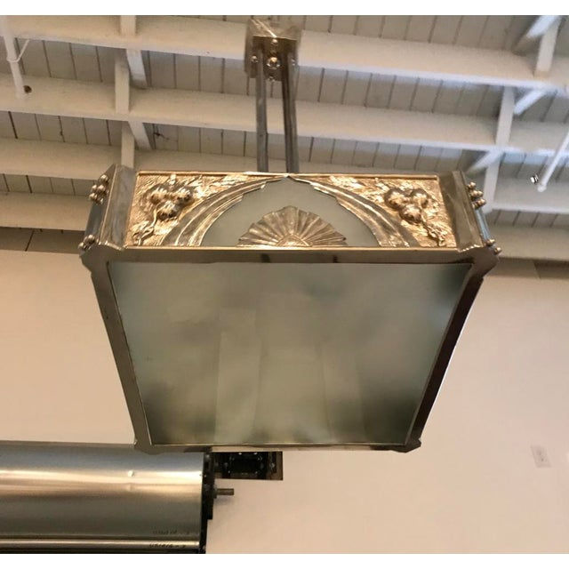 French Art Deco Square Geometric Chandelier For Sale In New York - Image 6 of 13