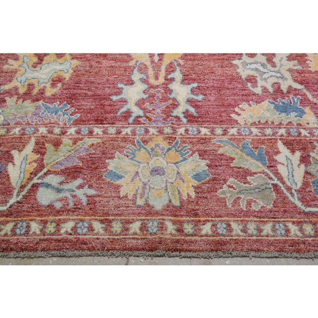 """Vintage Turkish Hand Woven Silky Soft Wool Oushak Rug,10'x13'4"""" For Sale - Image 4 of 7"""