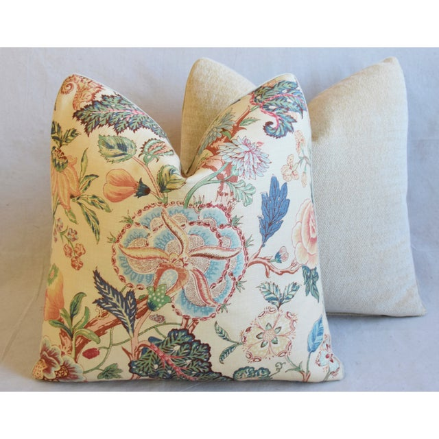 """Travers Tree-Of-Life Linen Feather/Down Pillows 22"""" Square - Pair For Sale - Image 10 of 13"""