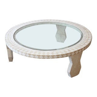 Tavola by Oggetti Tessellated Stone and Glass Large Round Mediterranean Style Cocktail Table