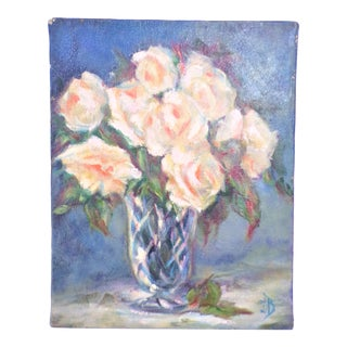 Vintage Roses Still Life Small Oil on Canvas Painting For Sale
