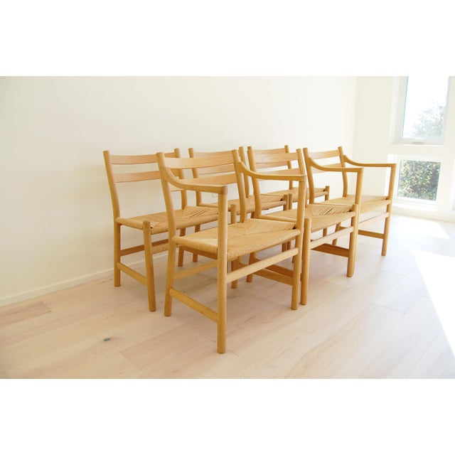 Danish Modern 1965 Hans Wegner for Carl Hansen & Son Oak Dining Armchairs - Set of 6 For Sale - Image 3 of 13