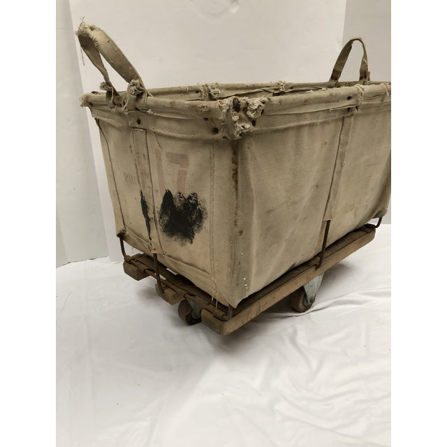 Canvas Vintage Industrial Canvas Laundry/Postal Cart For Sale - Image 7 of 11