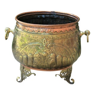 Antique French Brass & Copper Planter Flower Pot Large Hand Seamed For Sale
