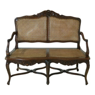 French Louis XV Style Cane Back & Seat Settee For Sale