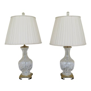 Waterford Crystal & Brass Table Lamps With Shades - a Pair For Sale