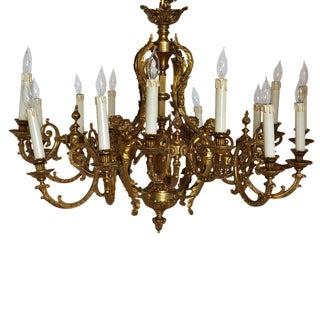 Large Bronze Chandelier Adorned With Cherubs For Sale