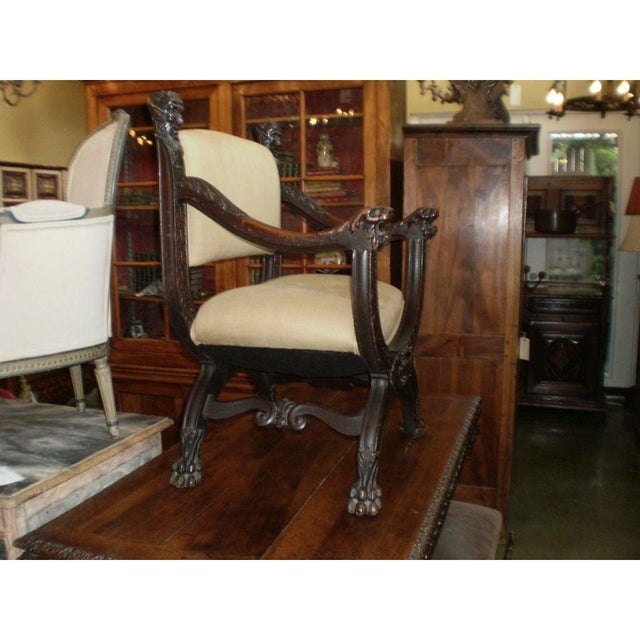 Well Carved 19th Century Italian Renaissance Style Walnut Chair. This Antique Italian Savonarola Armchair Has Been Newly...