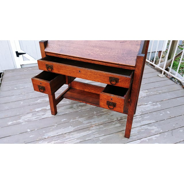 1910s Arts & Crafts Honeoye Falls Furniture Co Quarter Sawn Oak Desk For Sale - Image 10 of 13