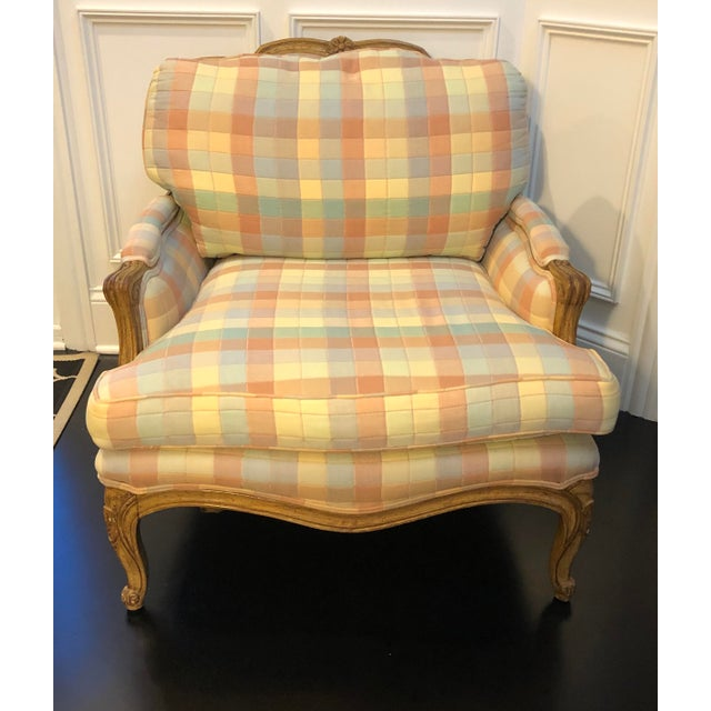 Vintage Upholstered Bergere Style Chair For Sale - Image 10 of 12