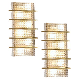 1970s Italian Large Rectangular Brass and Clear Murano Glass Sconces - a Pair For Sale