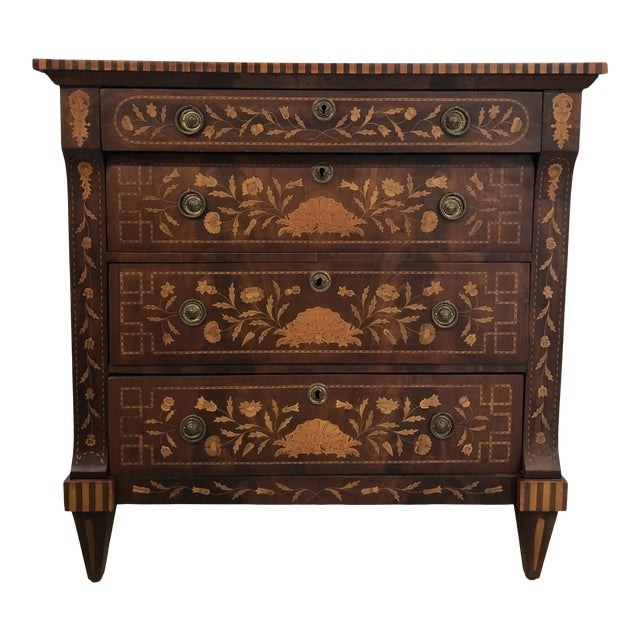 Early 19th Century Dutch Hardwood Inlaid Four Drawer Chest For Sale