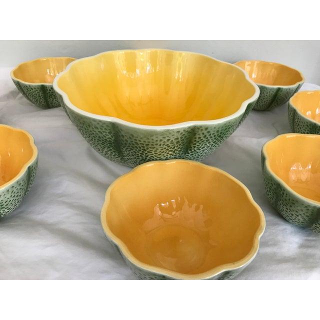 Traditional Vintage Knobler Japan Melon Cantaloupe Serving Bowl & 8 Matching Bowls For Sale - Image 3 of 11