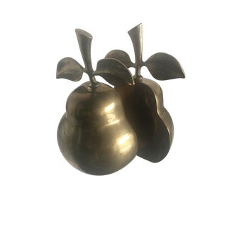 Brass Pear Bookends - A Pair For Sale