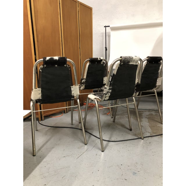 Charlotte Perriand 4 Mid-Century Modern Cowhide Sling Chairs For Sale - Image 4 of 6