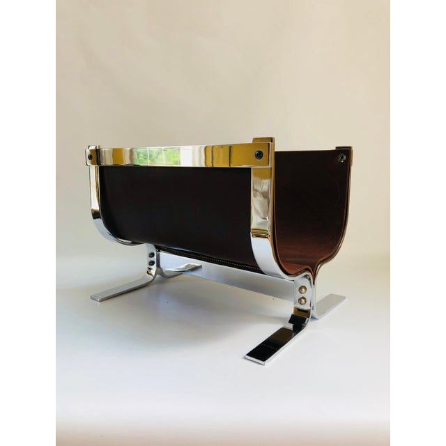Mid-Century Modern Danny Alessandro Chrome & Leather Log Holder or Magazine Rack For Sale - Image 10 of 11