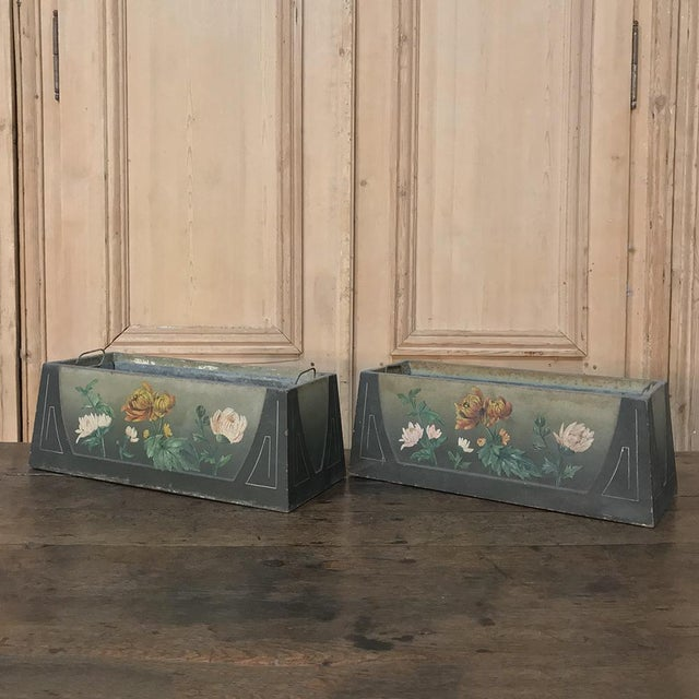 Pair French Art Deco Painted Jardinieres / Planter Boxes For Sale - Image 4 of 13