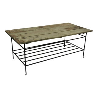 Reclaimed Wood Slat & Iron Green Distress Painted Industrial Style Coffee Table