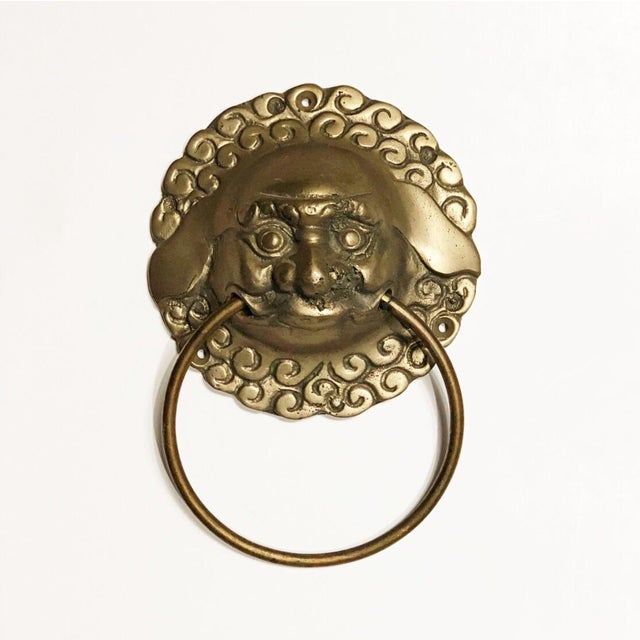 Mid 20th Century Vintage Mid Century Brass Foo Dog Door Knocker or Towel Ring For Sale - Image 5 of 5