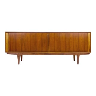 1960s Danish Modern Bernhard Pedersen & ​Son Walnut Tambour Door Credenza For Sale