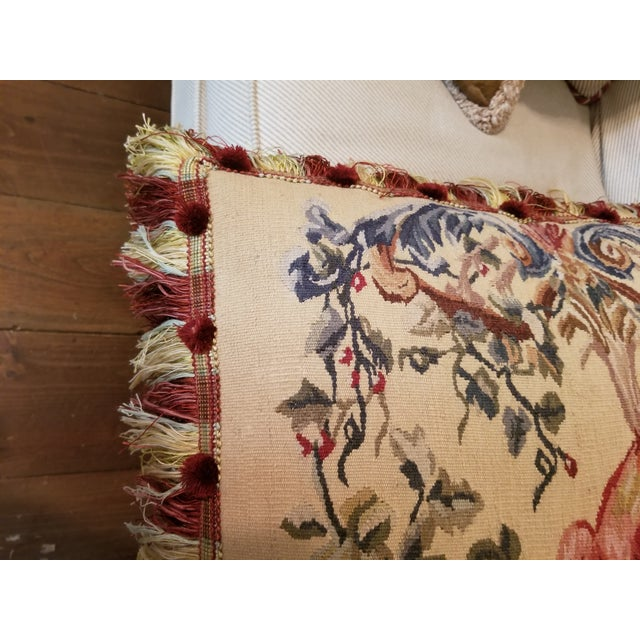 Large Aubusson Style Parrot Pillow For Sale - Image 4 of 10