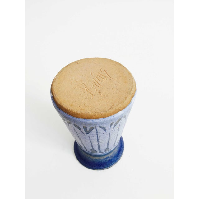 Mid Century Blue Studio Pottery Vase For Sale - Image 4 of 5