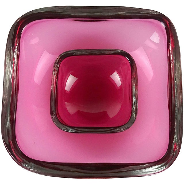 Glass Oggetti Murano Sommerso Pink Italian Art Glass Decorative Bowl Dish Set - a Pair For Sale - Image 7 of 7