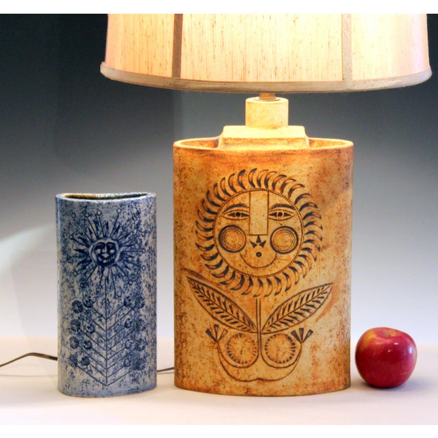 Mid-Century Modern 1950s Roger Capron French Studio Vallauris Pottery Lamp For Sale - Image 3 of 12