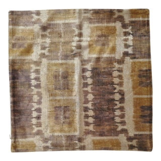 Brown & Yellow Geometric Patterned Silk Velvet Throw Pillow For Sale