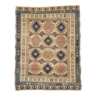 Antique Moghan Kazak Memling Gul Rug. 04'00 X 05'01 For Sale
