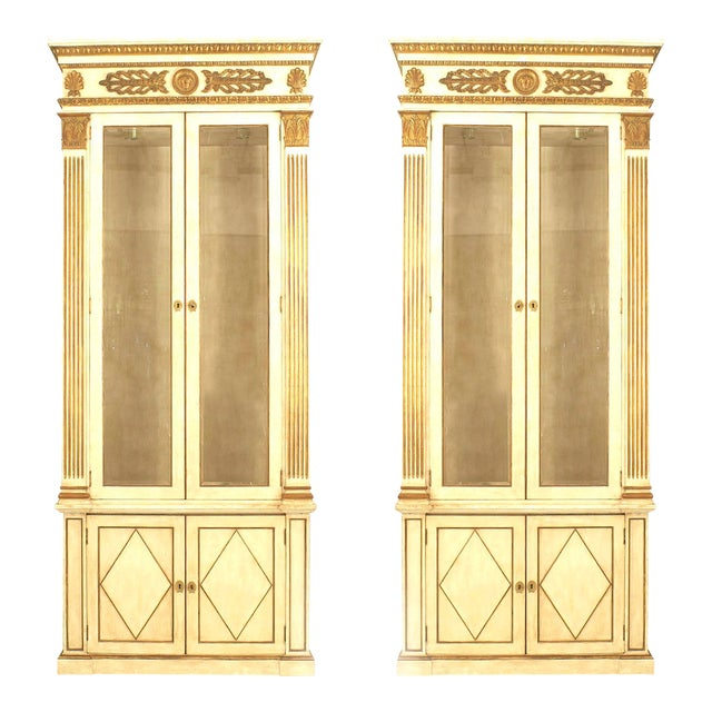 Pair of French Regence Style Grey-Painted and Gilt-Trimmed Bookcases For Sale