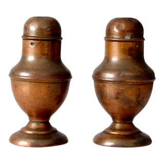 Vintage Copper Salt and Pepper Shakers - a Pair For Sale