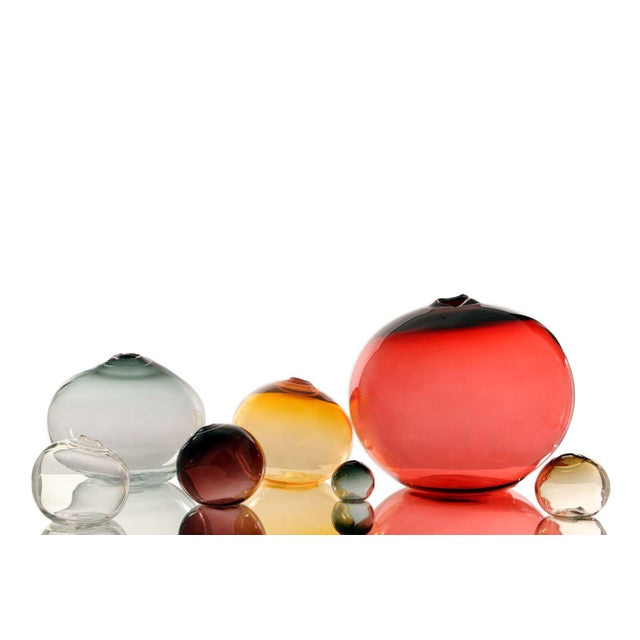 """Contemporary SkLO Float Glass Vessel 6"""" - Red For Sale - Image 3 of 6"""