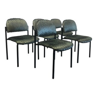 Metallic Green Textured Upholstery Dining Chairs - Set of 5 For Sale