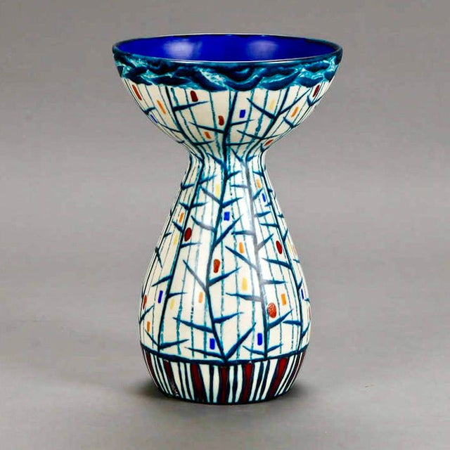 Mid Century Ernest d'Hossche Op Art Blue White Vase - Image 3 of 4