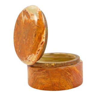 Pakistan Onyx Marble Lidded Round Box For Sale