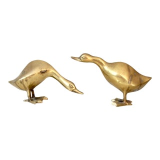 Mid-Century Brass Birds - a Pair For Sale
