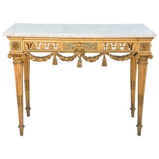 18th Century Giltwood Console with Carrara Marble Top For Sale